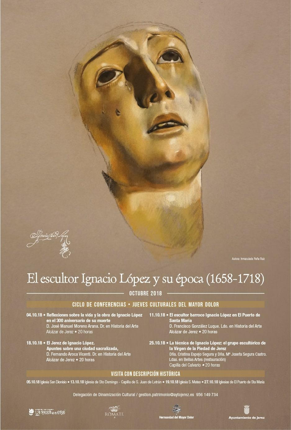 Cartel para el Ciclo de Conferencias sobre el escultor Ignacio López ilustrado por la Artista Plástica Inma Peña