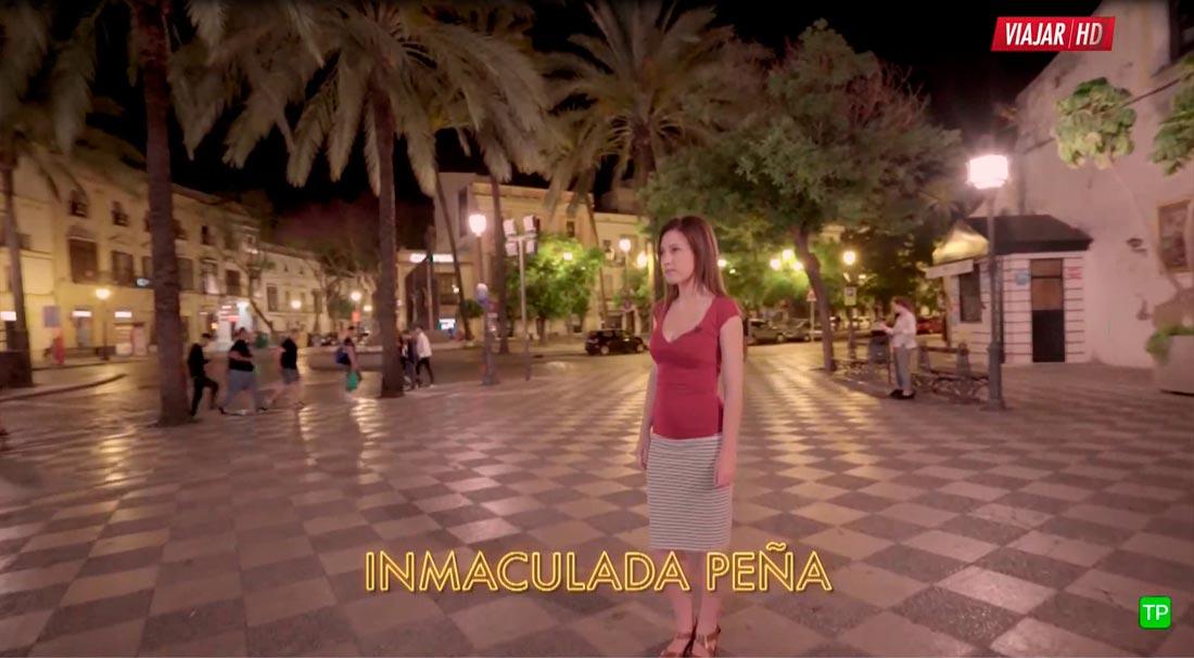 La Artista Plástica Inma Peña durante la grabación del capítulo Ciudades de Noche Jerez