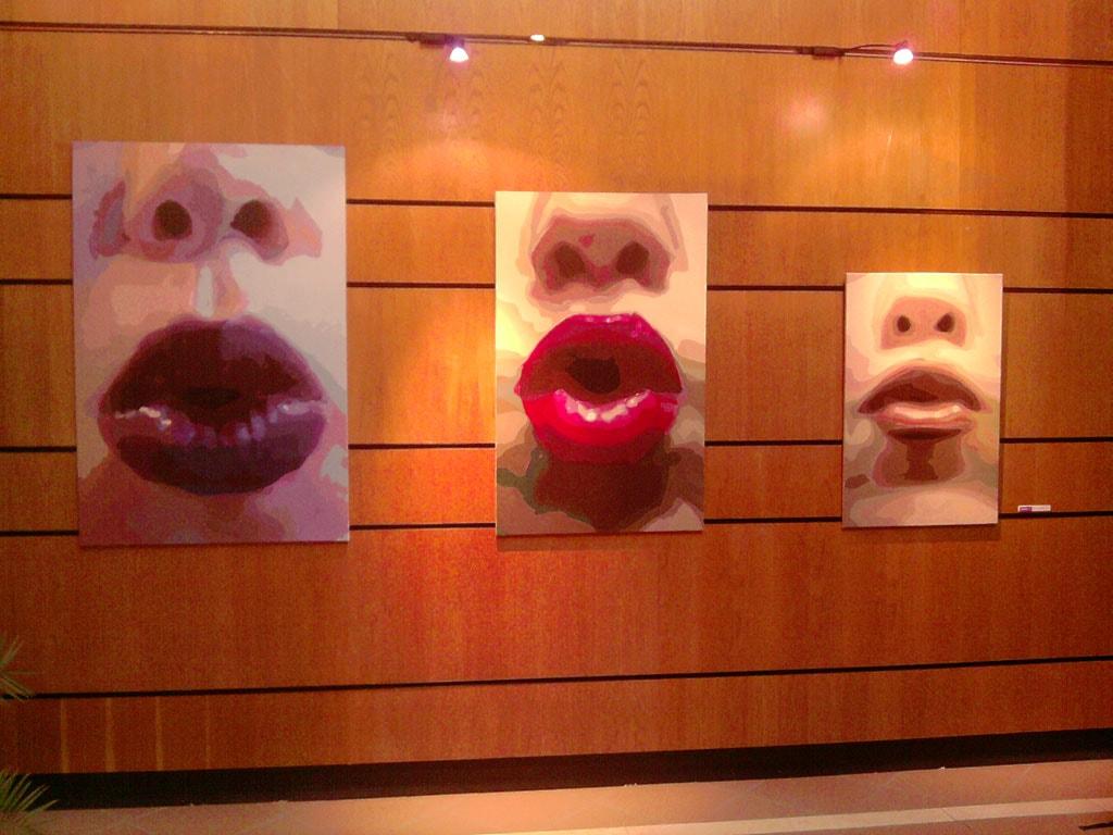 Obras de la Serie Bésame premiadas, realizadas por la Artista Plástica Inma Peña