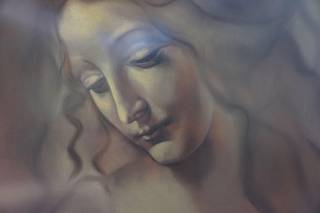 Versión a pastel de Cabeza de Muchacha de Da Vinci realizada por la Artista Plástica Inma Peña en 2004 (detalle)