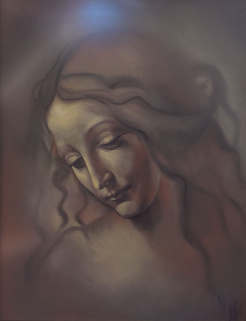 Versión a pastel de Cabeza de Muchacha de Da Vinci realizada por la Artista Plástica Inma Peña en 2004