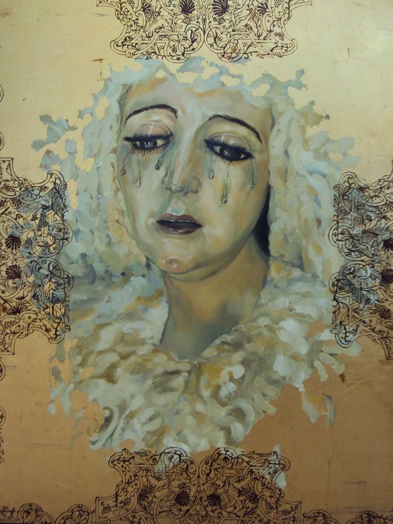 Retrato al óleo de Nuestra Señora de la Amargura realizado por la Artista Plástica Inma Peña