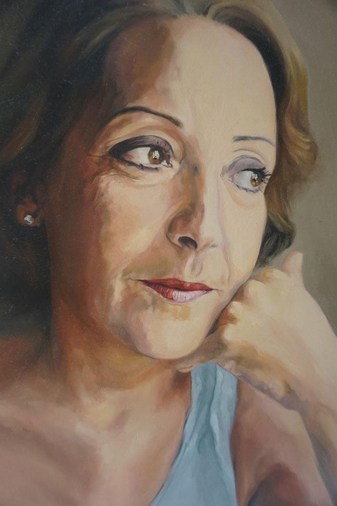 Retrato al óleo de la madre de la artista realizado Inma Peña en 2006 (detalle)