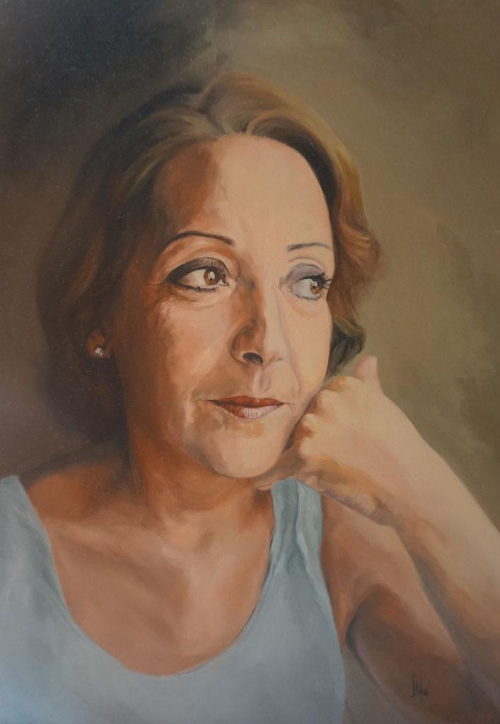 Retrato al óleo de la madre de la artista realizado Inma Peña en 2006