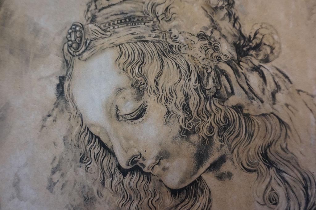 Grabado sobre madera del estudio de cabeza de mujer de Da Vinci realizado por la Artista Plástica Inma Peña en 2006 (detalle)