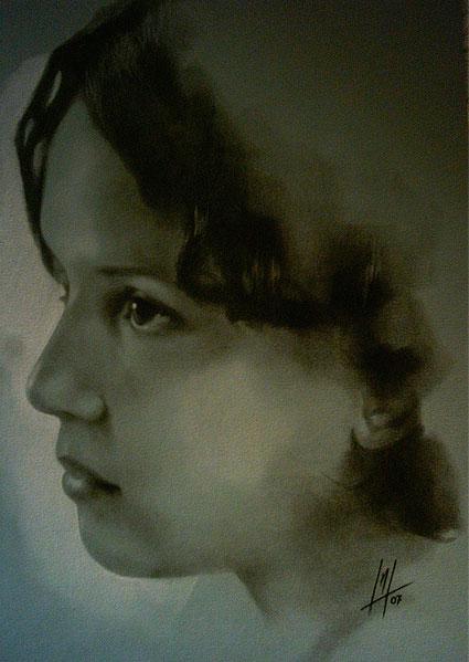 Retrato a pastel de Cristina realizado por la Artista Plástica Inma Peña en 2007
