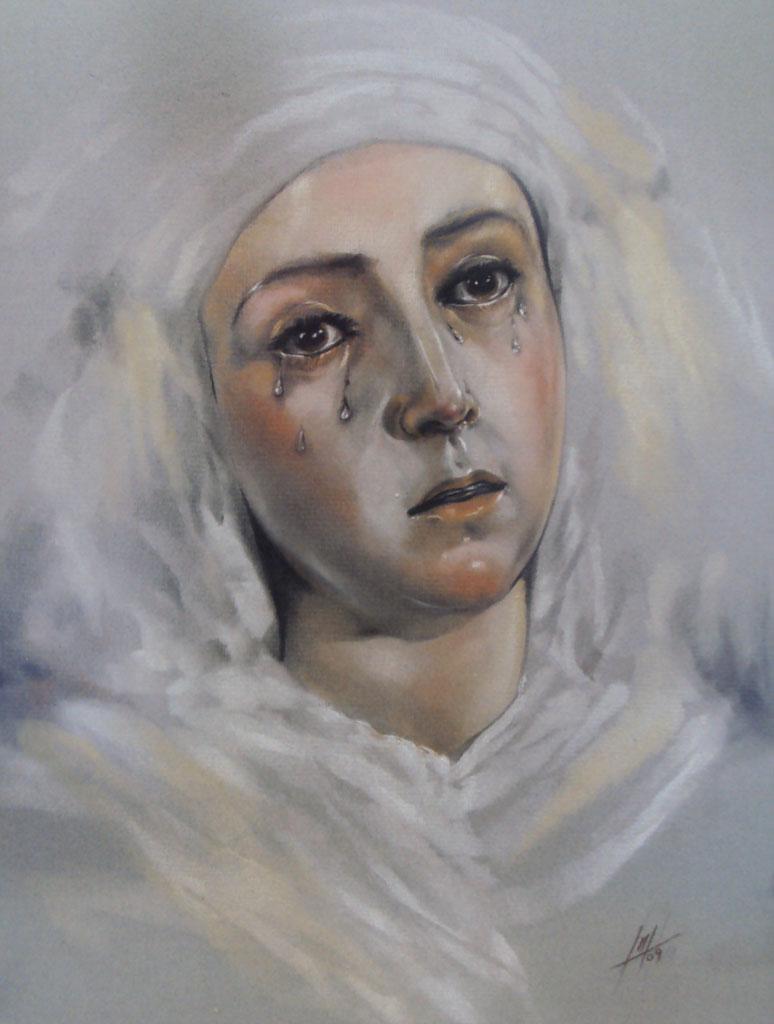 Retrato a pastel de Nuestra Señora de las Aguas realizado por la Artista Plástica Inma Peña