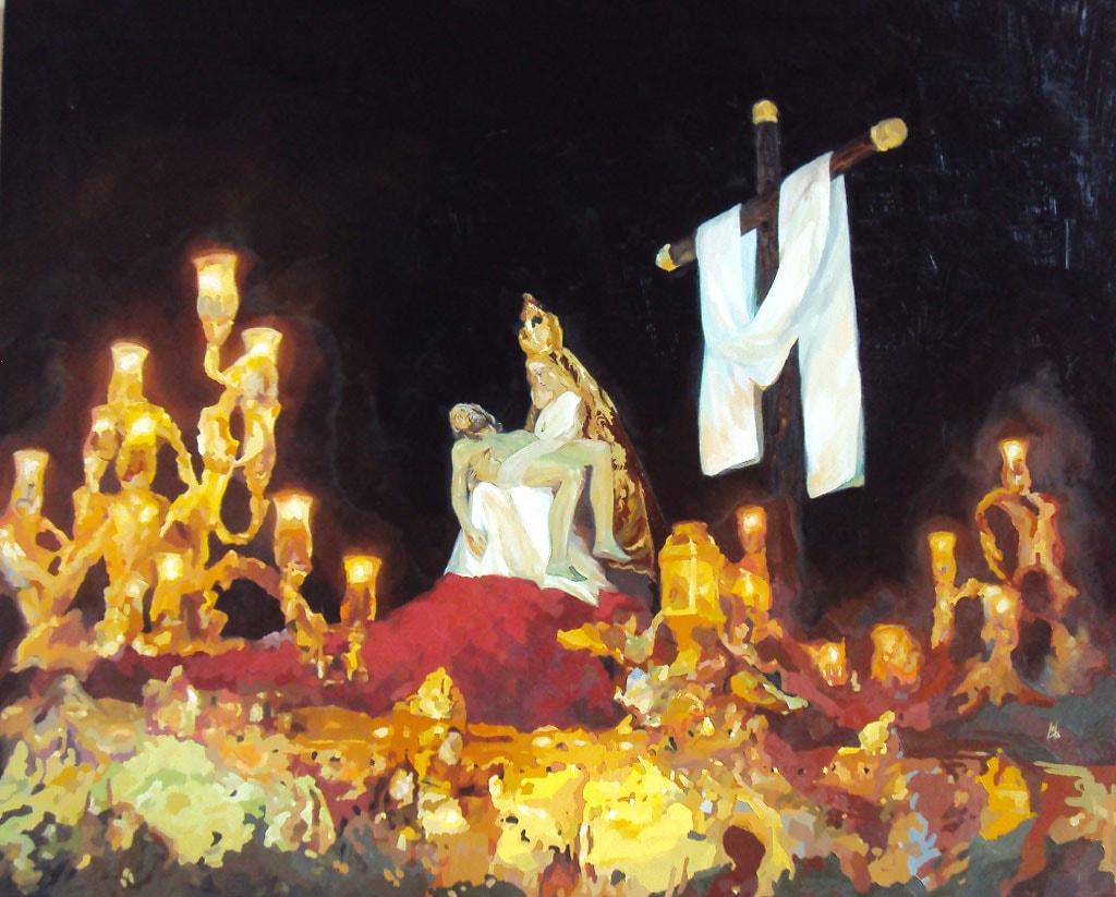 Nuestra Señora de las Angustias al óleo realizado por la Artista Plástica Inma Peña
