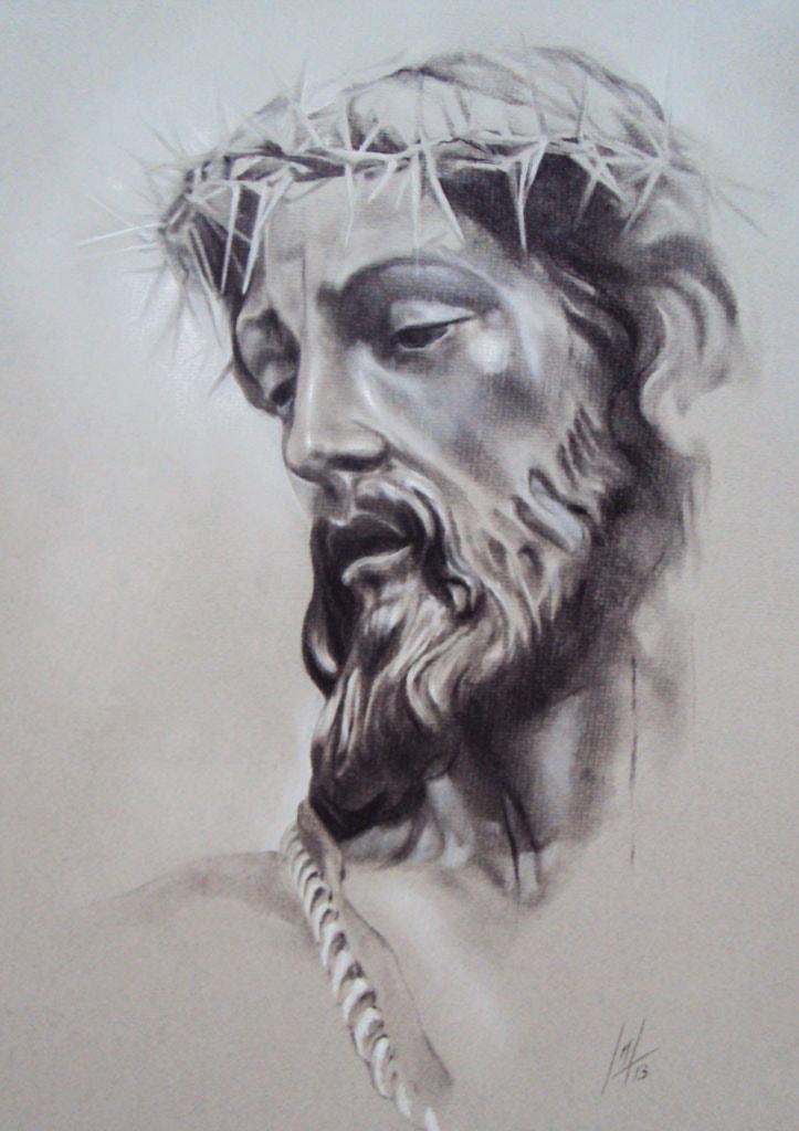 Retrato a pastel de Nuestro Padre Jesús de la Coronación realizado por la Artista Plástica Inma Peña
