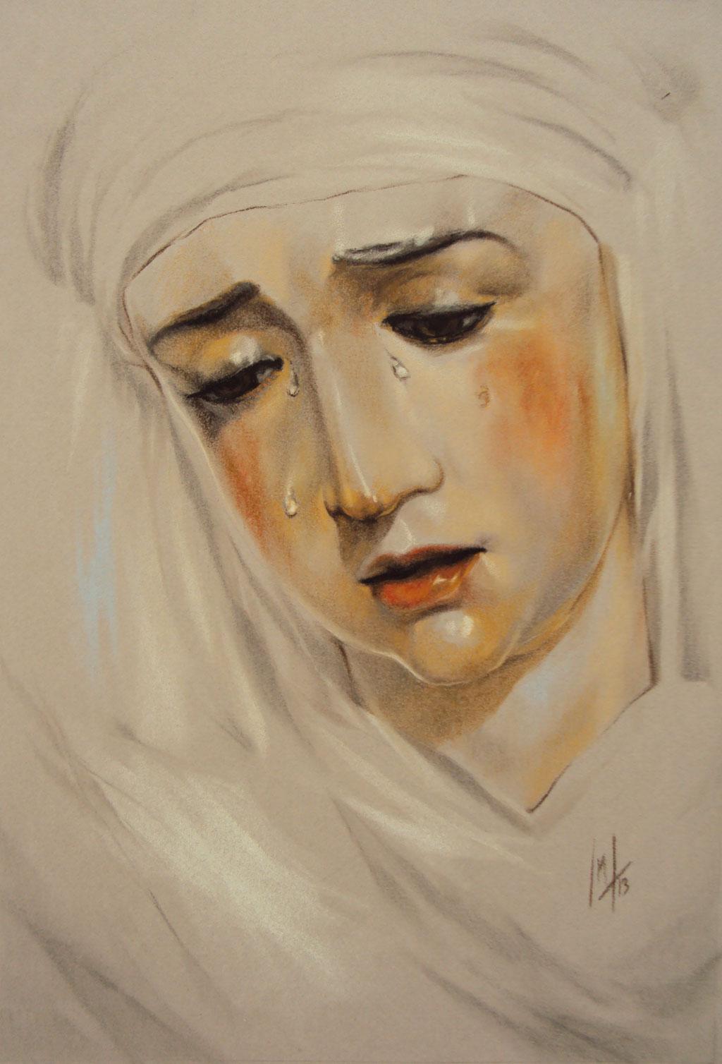 Retrato a pastel de la Virgen de la Piedad por la Artista Plástica Inma Peña en 2013