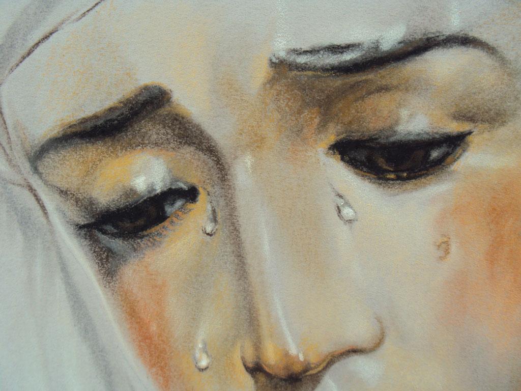 Retrato a pastel de la Virgen de la Piedad por la Artista Plástica Inma Peña en 2013 (detalle)