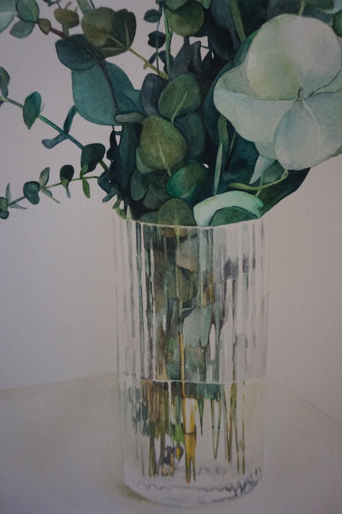 Jarrón con ramas de eucalipto realizado en acuarela por la artista plástica Inma Peña en 2017 (detalle)