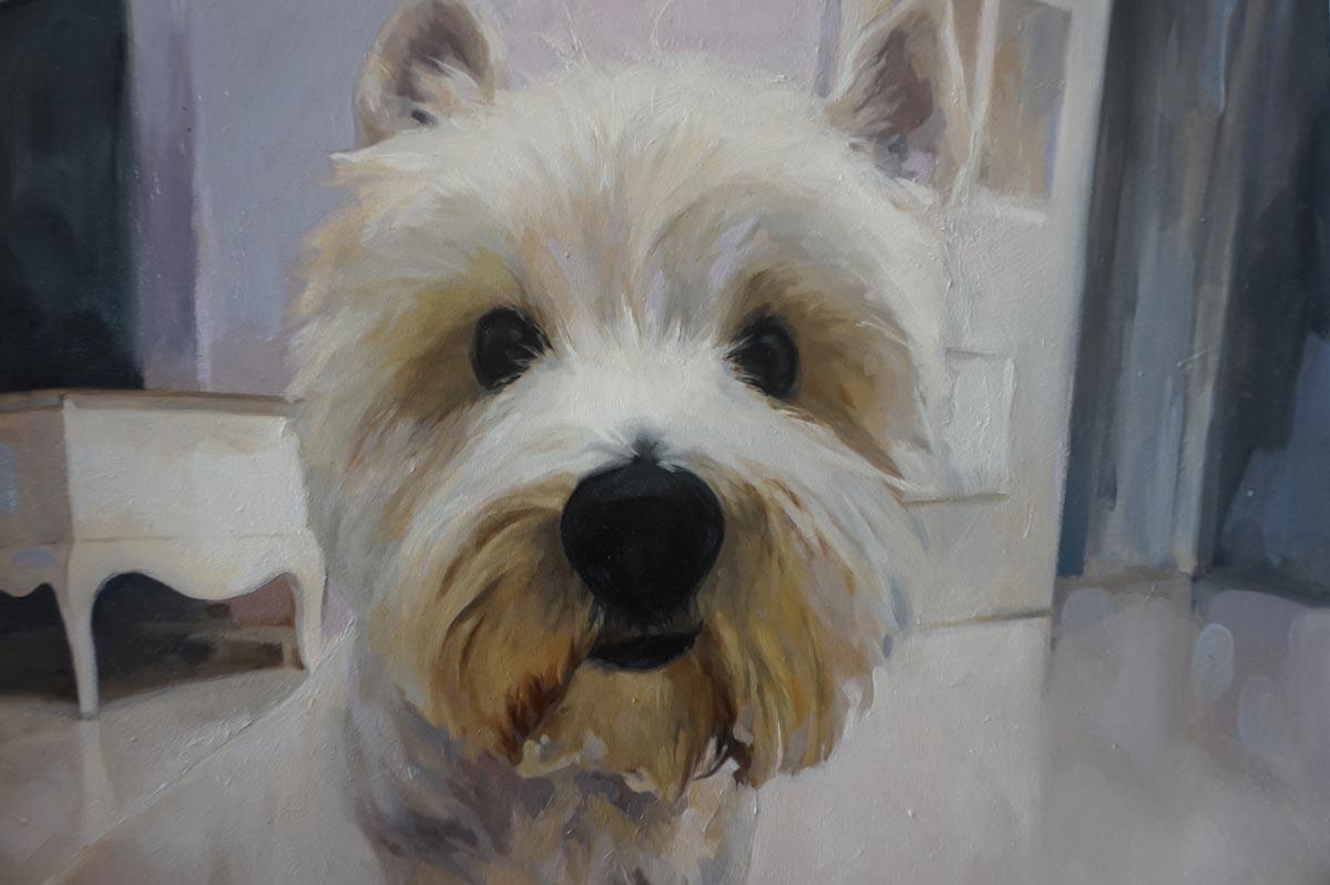 Retrato al óleo del perro de la artista, realizado por Inma Peña en 2017 (detalle)