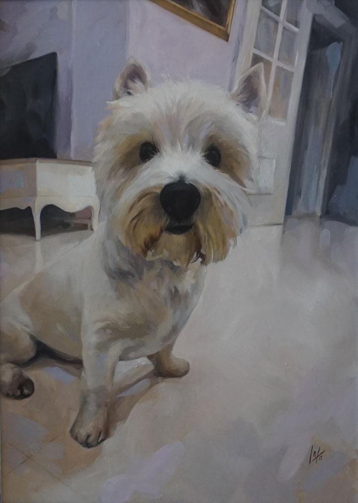 Retrato al óleo del perro de la artista, realizado por Inma Peña en 2017
