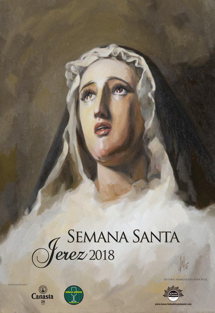 Cartel Semana Santa Jerez 2018, realizado por la Artista Plástica Inma Peña, para La Sacristía del Caminante.