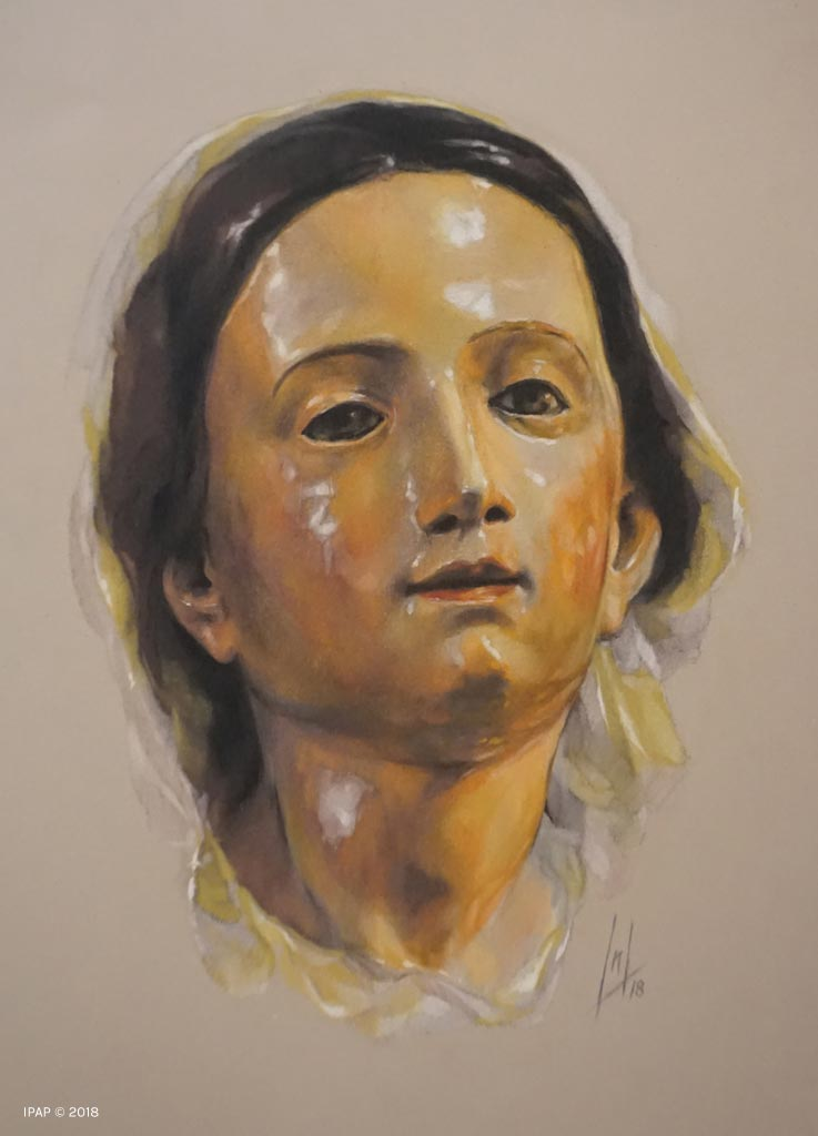 Retrato a pastel de la Virgen de la Luz por la Artista Plástica Inma Peña en 2018