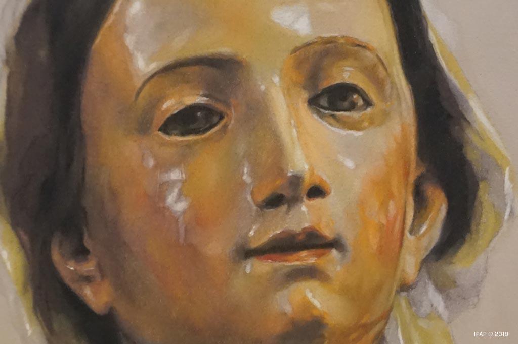 Retrato a pastel de la Virgen de la Luz por la Artista Plástica Inma Peña en 2018 (detalle del rostro)