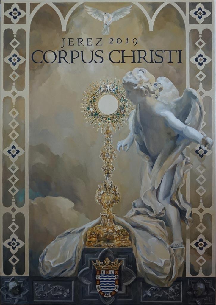 Cartel oficial del Corpus Christi de Jerez 2019 realizado por la artista plástica Inma Peña en 2019