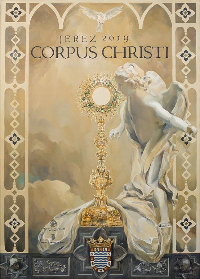 Cartel Corpus Christi Jerez 2019, realizado por la Artista Plástica Inma Peña, para la Unión de Hermandades de Jerez.