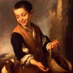 Muchacho con un perro. Bartolomé Estéban Murillo. Anterior a 1600, Óleo sobre lienzo, 74x60 cm. San Peterburgo, Rusia. Museo del Hermitage.
