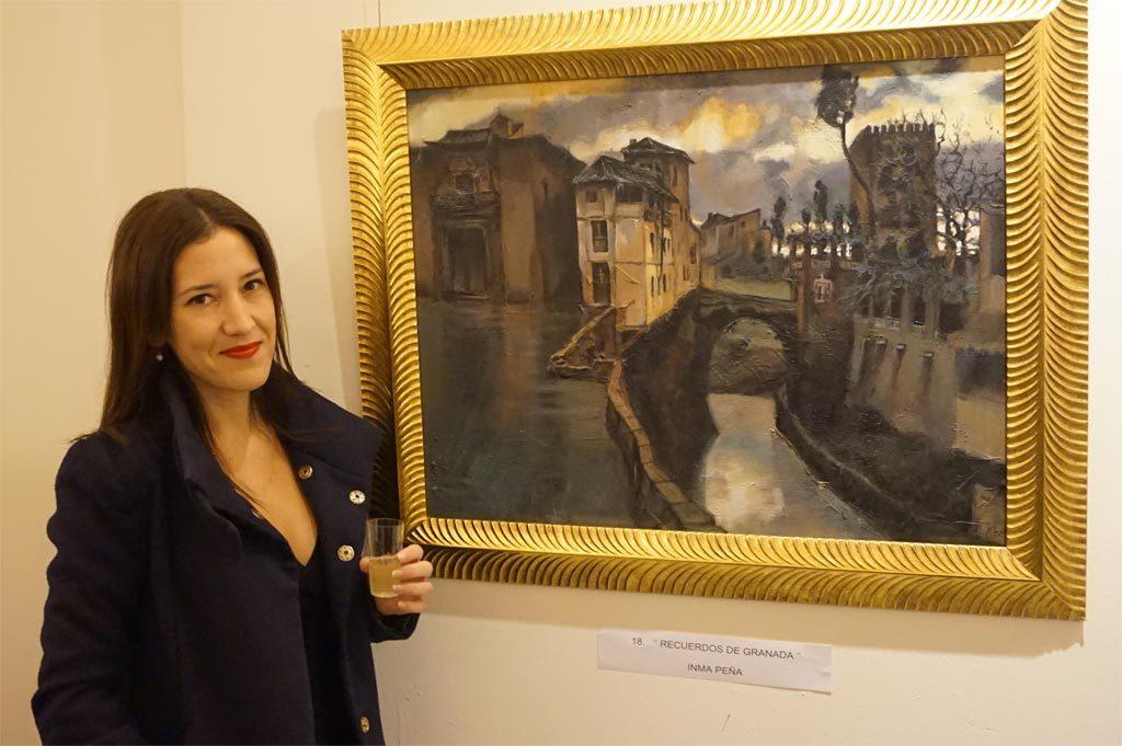 La artista plástica Inma Peña y su obra Recuerdos de Granada en la XXVIII Edición de la Muestra pictórica y escultórica Jerez, Paleta de Colores