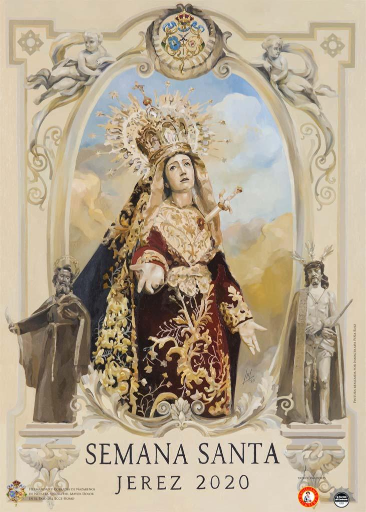 Cartel Semana Santa de Jerez 2020. Inma Peña. 2020, Óleo sobre tabla, 70x50 cm. Hermandad del Mayor Dolor, Jerez de la Frontera, España.