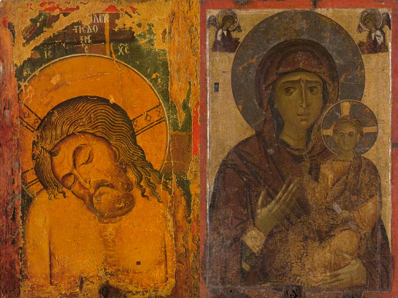 Icono bifronte de la Virgen de la Piedad, de mediados del siglo XII. Museo Arqueológico de Kastoria.