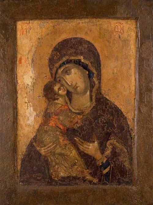 Icono de la Virgen Eleusa o de la Ternura, ¿Andrei Rubliov?. Galería Tretyakov. Museo Estatal de Bellas Artes, Moscú.