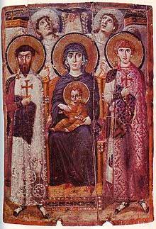 Icono de la Madre de Dios entre los Santos Teodoro Estratilata y Jorge. Monasterio de Santa Catalina, Sinaí