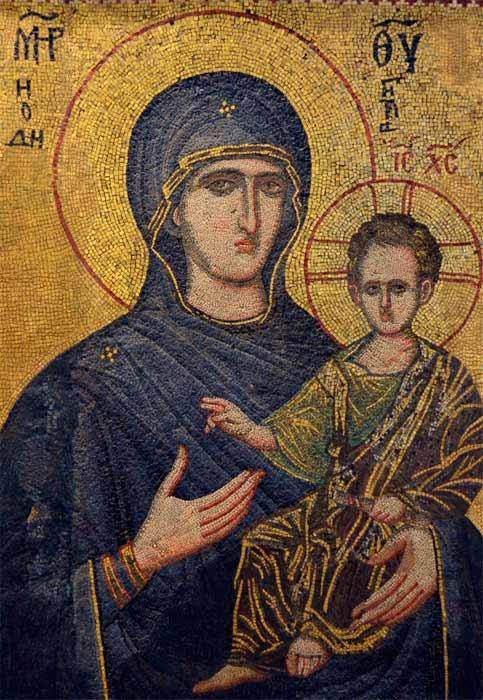 Mosaico de la Virgen Hodigitria. Museo Arqueológico de Sofía