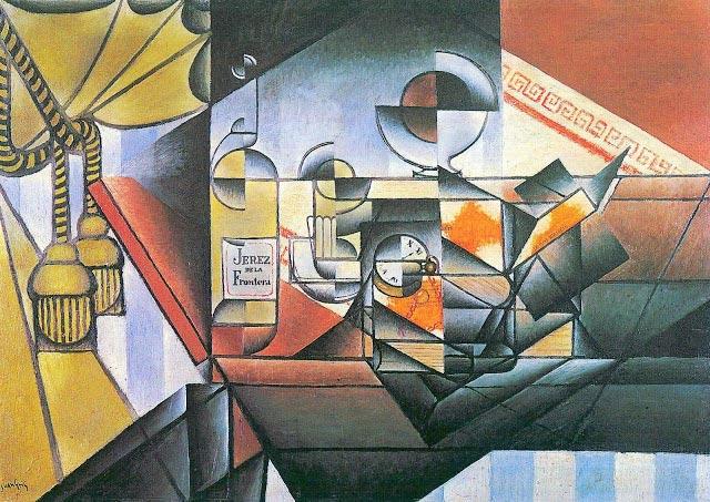 El Reloj, Juan Gris. 1912, Óleo y collage sobre lienzo, 65×92 cm. Cubismo Sintético. París, Colección privada.