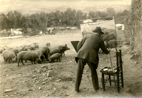 Sorolla pintando el boceto Mercado de cerdos en 1917.