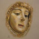 Nuestra Señora del Rocío. Realizada por Inmaculada Peña Ruiz. 2020. Pastel, 29,7 x 42 cm. Colección particular, Jerez.