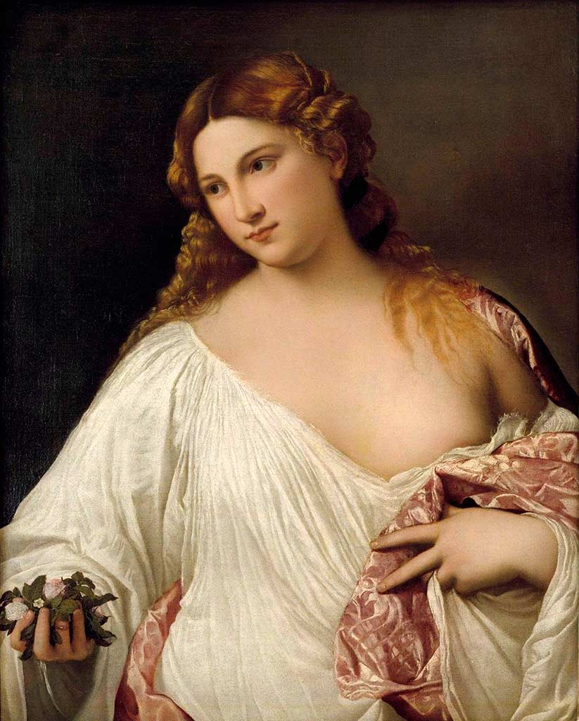 Flora. Tiziano Vecellio di Gregorio. Hacia 1515, Óleo sobre lienzo 79,5x63,5 cm. Florencia, Galería de Uffizi.