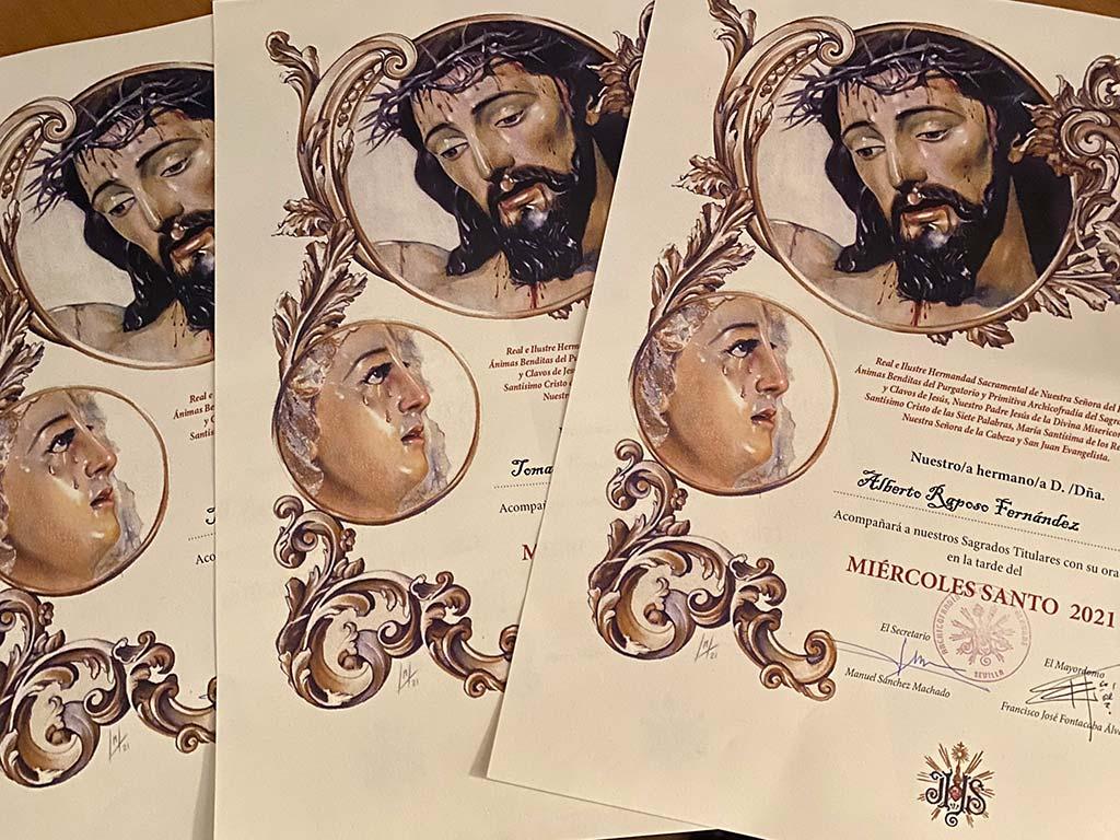 Papeleta de sitio extraordinaria para la Hermandad de las Siete Palabras de Sevilla realizada a pastel por la artista plástica Inmaculada Peña en 2021